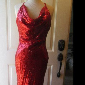 """NWT Red Stretch Sequin """"Jessica Rabbit"""" Dress Med."""
